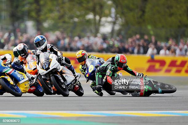 Malaisian Adam Norrodin crashes on his Honda N��7 during the last lap of the Moto3 race of the French moto Grand Prix on May 8 2016 in Le Mans...
