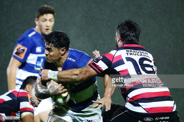 Malakai Fekitoa of Auckland charges forward during the round one Mitre 10 Cup match between Counties Manukau and Auckland at ECOLight Stadium on...