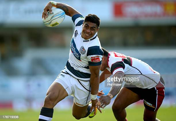 Malakai Fekitoa of Auckland is tackled during the round one ITM Cup match between Auckland and North Harbour at Eden Park on August 18 2013 in...