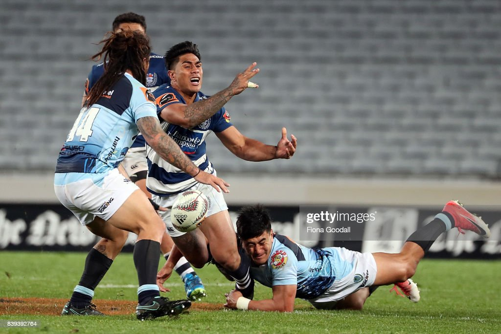 Malakai Fekitoa (C) of Auckland loses the ball during the round two Mitre 10 Cup match between Auckland and Northland at Eden Park on August 26, 2017 in Auckland, New Zealand.