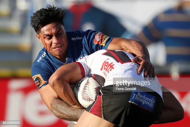 Malakai Fekitoa of Auckland makes a tackle during the round three Mitre 10 Cup match between North Harbour and Auckland on September 3 2017 in...
