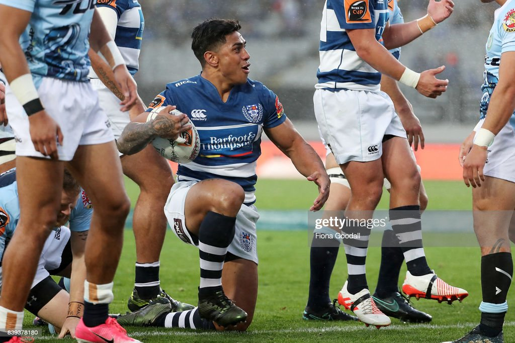 Malakai Fekitoa of Auckland (C) thinks he has scored a try during the round two Mitre 10 Cup match between Auckland and Northland at Eden Park on August 26, 2017 in Auckland, New Zealand.