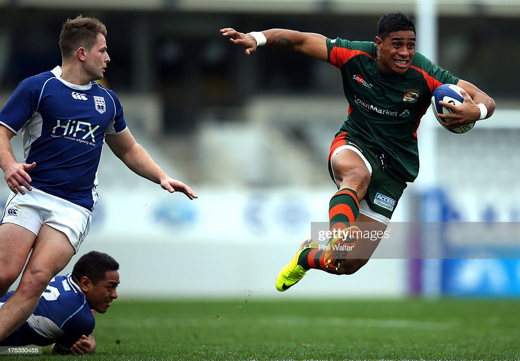 Malakai Fekitoa of Pakuranga on the charge during the Gallaher Shield Final match between Pakuranga and University at Eden Park on August 3, 2013 in Auckland, New Zealand.