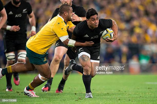 Malakai Fekitoa of the All Blacks attempts to makes a break during The Rugby Championship Bledisloe Cup match between the Australian Wallabies and...
