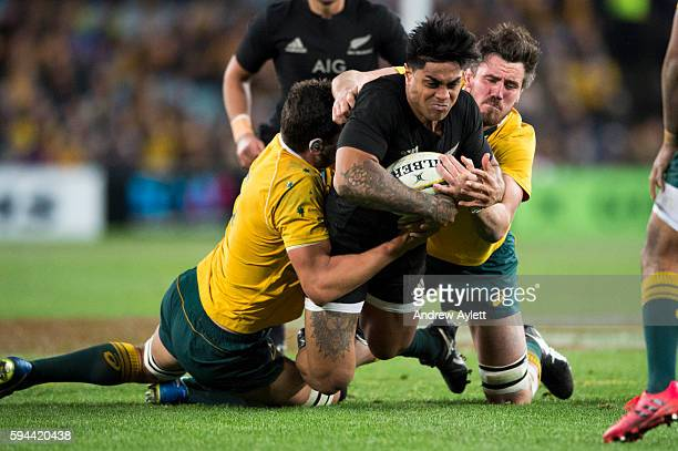 Malakai Fekitoa of the All Blacks is tackled during The Rugby Championship Bledisloe Cup match between the Australian Wallabies and the New Zealand...