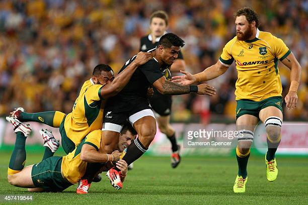 Malakai Fekitoa of the All Blacks is tackled during The Rugby Championship match between the Australian Wallabies and the New Zealand All Blacks at...