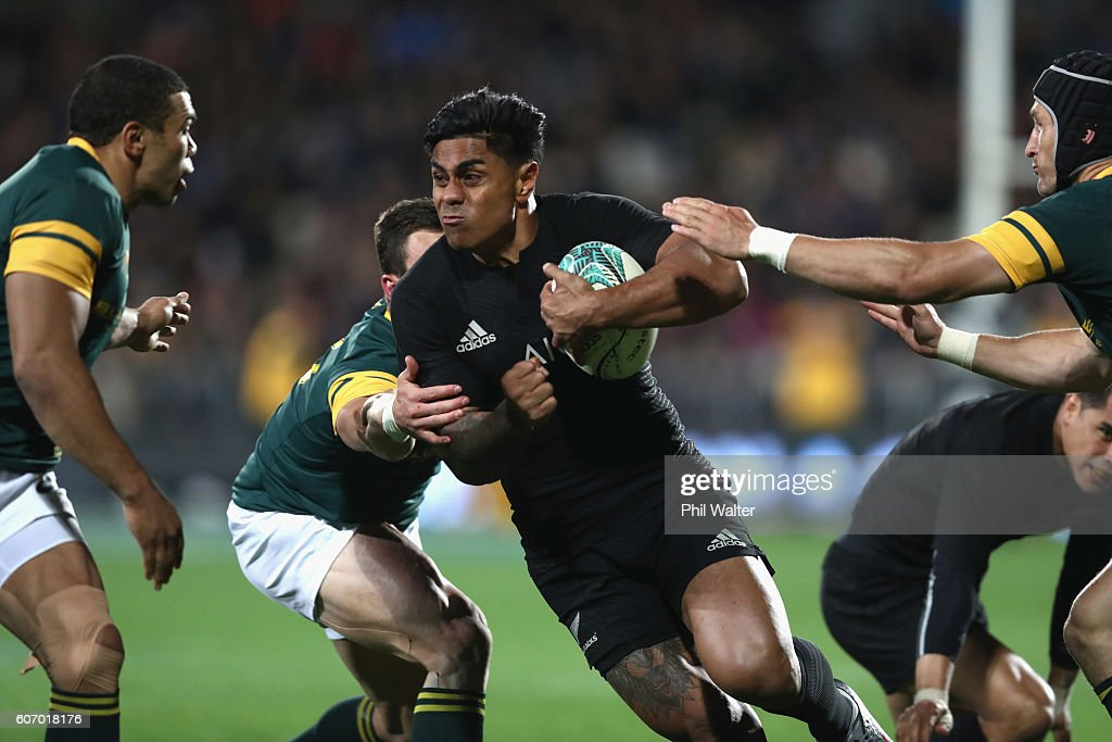 Malakai Fekitoa of the All Blacks is tackled during the Rugby Championship match between the New Zealand All Blacks and the South Africa Springboks at AMI Stadium on September 17, 2016 in Christchurch, New Zealand.