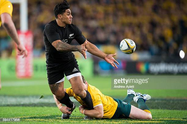 Malakai Fekitoa of the All Blacks passes in a tackle during The Rugby Championship Bledisloe Cup match between the Australian Wallabies and the New...