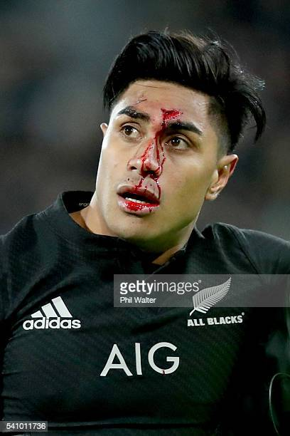 Malakai Fekitoa of the All Blacs heads to the blood bin during the International Test match between the New Zealand All Blacks and Wales at Westpac...