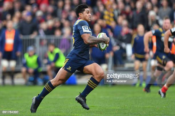 Malakai Fekitoa of the Highlanders charges forward during the round 15 Super Rugby match between the Crusaders and the Highlanders at AMI Stadium on...