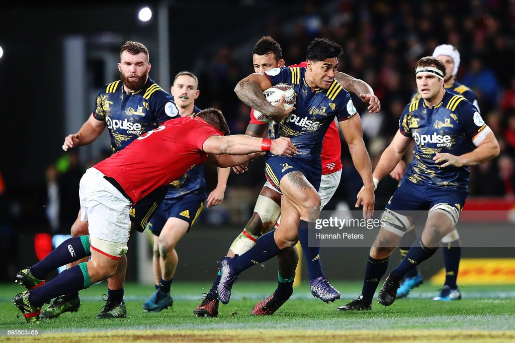 Malakai Fekitoa of the Highlanders makes a break during the match between the Highlanders and the British & Irish Lions at Forsyth Barr Stadium on June 13, 2017 in Dunedin, New Zealand.