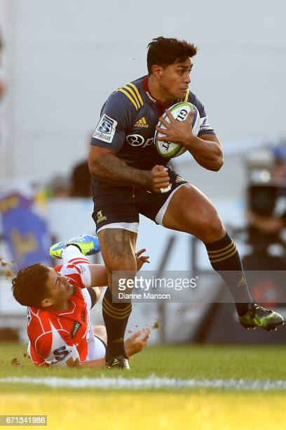 Malakai Fekitoa of the Highlanders makes a break during the round nine Super Rugby match between the Highlanders and the Sunwolves at Rugby Park...