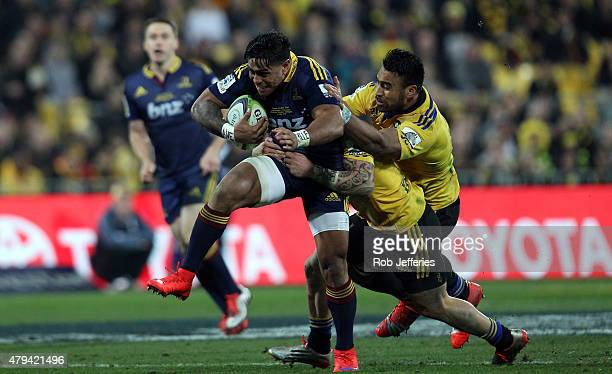Malakai Fekitoa of the Highlanders on the attack during the Super Rugby Final match between the Hurricanes and the Highlanders at Westpac Stadium on...
