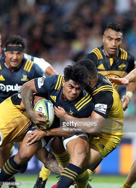 Malakai Fekitoa of the Highlanders on the charge during the round two Super Rugby match between the Highlanders and the Hurricanes at Forsyth Barr...