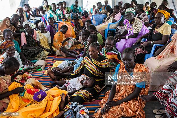 Malakal, South Sudan- Women gather to speak about their lives in the camp at the International Medical Corps compound in the Protection of Civilians...