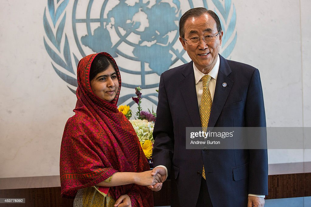 Malala Yousafzai, an education and women's rights activist (R), meets with United Nations (UN) Secretary General Ban Ki-Moon on August 18, 2014 in New York City. Mala also attended a conference marking the UN's Millenium Development Goals.
