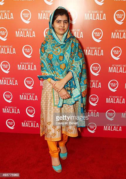 """Malala Yousafzai attends a special screening of """"He Named Me Malala' on October 22, 2015 in London, England."""