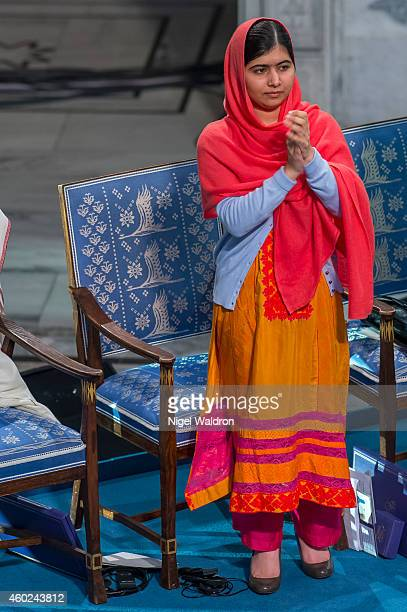 Malala Yousafzai attends the Nobel Peace Prize Ceremony at Oslo City Hall on December 10 2014 in Oslo Norway