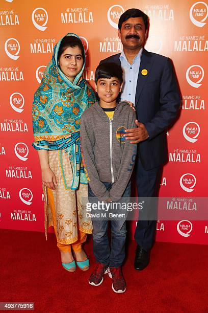 Malala Yousafzai brother Atal Khan Yousafzai and father Ziauddin Yousafzai attend a special screening of 'He Named Me Malala' on October 22 2015 in...