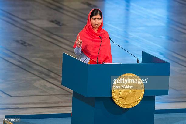 Malala Yousafzai delivers her acceptance speech during the Nobel Peace Prize ceremony at Oslo City Town Hall on December 10, 2014 in Oslo, Norway.