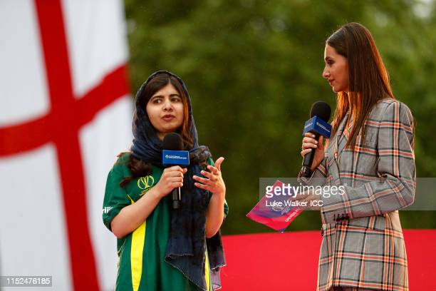 Malala Yousafzai of Pakistan addresses the crowd during the ICC Cricket World Cup 2019 Opening Party at The Mall on May 29, 2019 in London, England.