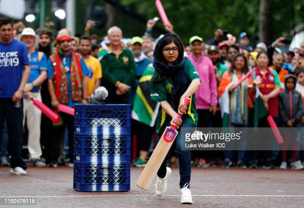 Malala Yousafzai of Pakistan bats during the ICC Cricket World Cup 2019 Opening Party at The Mall on May 29, 2019 in London, England.