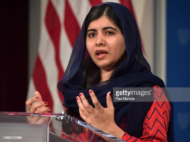 Malala Yousafzai speaks after receiving the 2018 Harvard Gleitsman International Activist Award at Harvard University Kennedy School Institute of...
