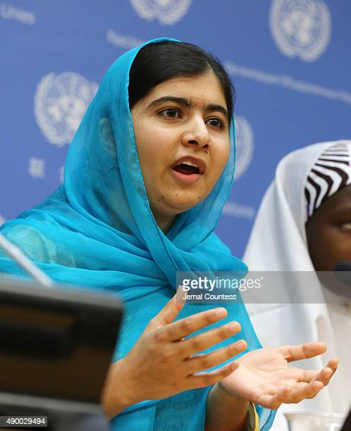 Malala Yousafzai speaks at a press conference during the United Nations General Assembly at the United Nations on September 25 2015 in New York City