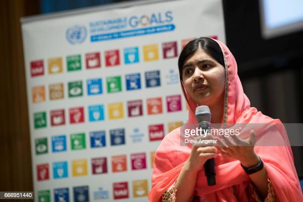Malala Yousafzai speaks during a ceremony to name her as a United Nations Messenger of Peace at UN headquarters April 10 2017 in New York City...