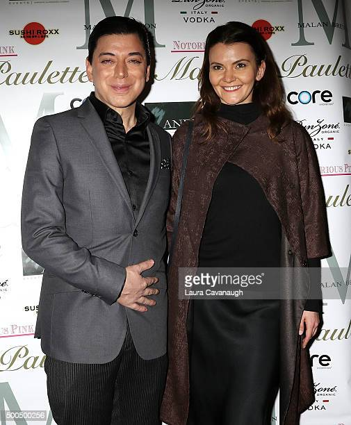 Malan Breton and Alina Supanova attend Malan Breton Couture Collection Unveiling Hosted By Dorinda Medley at Madame Paulette on December 8 2015 in...