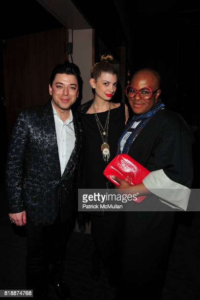Malan Breton Ashley Shaw and Malik So Chic attend Evisu and The Smile celebrate the Opening of Scott Campbell's If You Don't Belong Don't Be Long at...