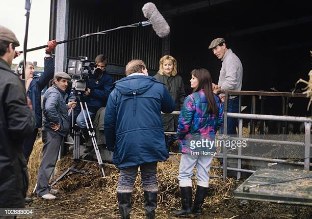 Malandra Burrows Leah Bracknell and Clive Hornby on set during filming of British television soap opera Emmerdale Farm in 1989
