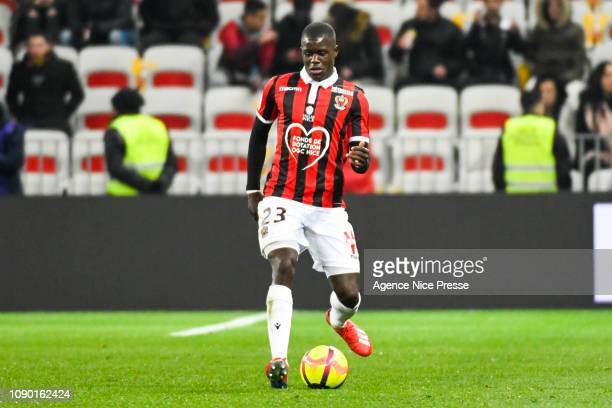 Malang Sarr of Nice during the Ligue 1 match between Nice and Nimes at Allianz Riviera on January 26 2019 in Nice France
