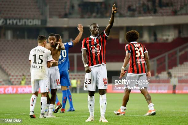 Malang Sarr of Nice salutes the fans during the French Ligue 1 match between Nice and Rennes on September 14 2018 in Nice France