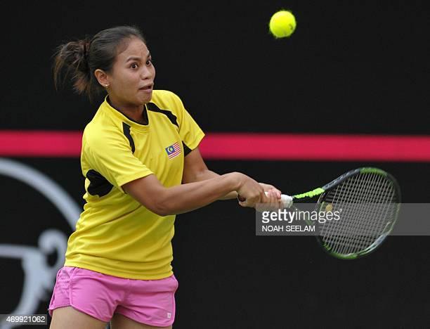 Malasysia's Jawairiah Noordin returns to India's Ankita Raina during the Fed Cup AsiaOceana Group II Tennis Championship at Fateh Maidan Tennis...