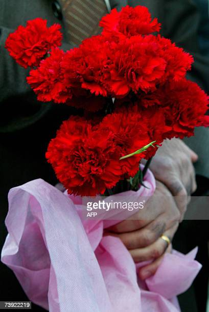 A demonstrator hold carnations 19 April 2007 during a march in protest of attacks on minorities in Malatya Turkey today condemned the gruesome murder...