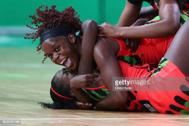 Malawi celebrate winning the Netball match between New Zealand and Malawi on day four of the Gold Coast 2018 Commonwealth Games at Gold Coast...