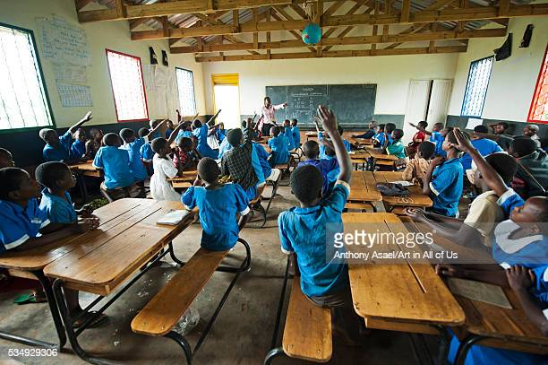 Malawi Lilongwe Chambwe Primary School Pupils in the classroom about 40 kilometres west of Lilongwe learning comfortably on desks Through UNICEF'S...