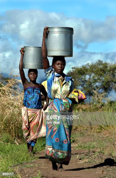 Malawian girls carry water July 3 2002 to their village of Mutcheza in the Phalombe District which is east of Blantyre Malawi After the droughts and...