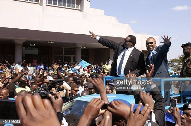 Malawis newly elected President Professor Peter Mutharika a young brother of the former late President Bingu wa Mutharika and his Deputy Saulos...