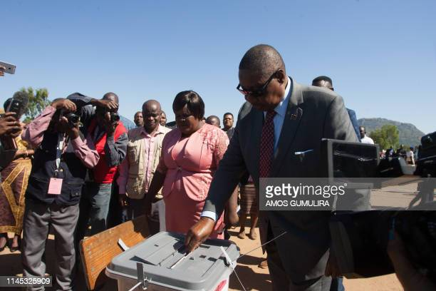 Malawi's President Arthur Peter Mutharika casts his vote at Goliati Primary School at his home village Goliathi in the district of Thyolo southern...