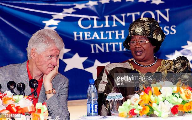 Malawi's President Joyce Banda speaks during a press conference with former US President Bill Clinton on August 1 2013 at the Kamuzu Central Hospital...