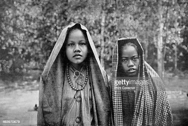 Malay girls Sumatra Indonesia A print from Customs of the World Volume II Hutchinson and Co Paternoster Row London