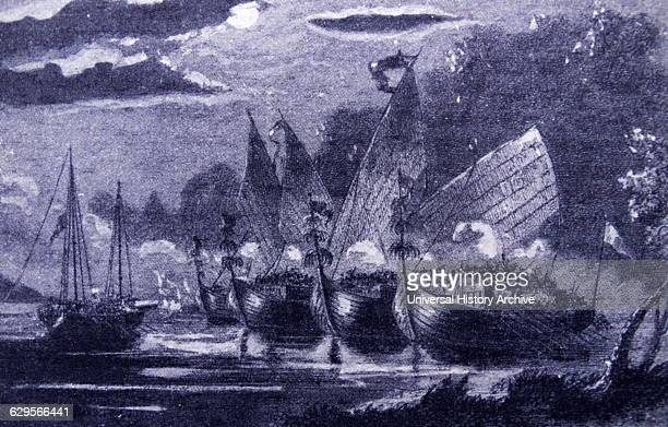 Malay pirates attack in formation Dutch East Indies 18th Century