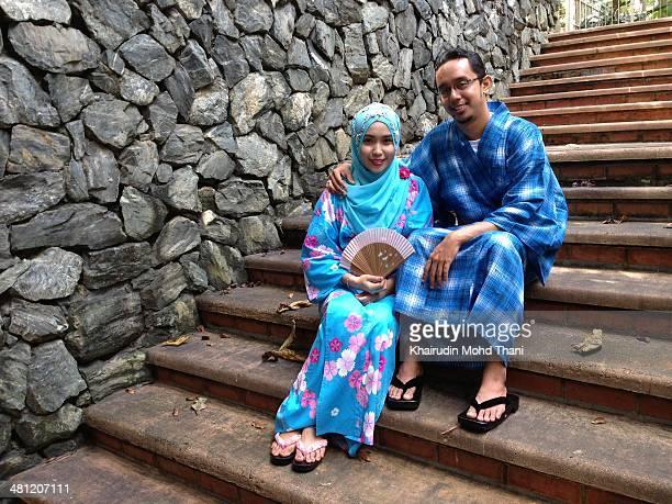 Malay wedding wearing kimono for outdoor photo session