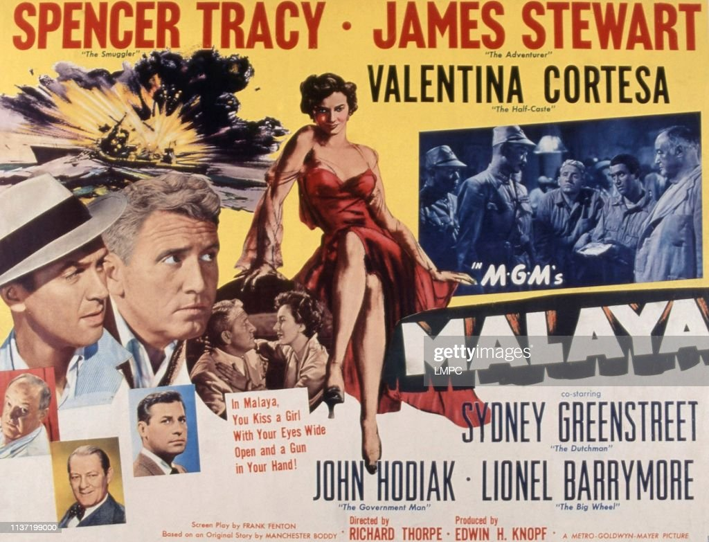 Malaya, lobbycard, , James Stewart, Spencer Tracy, Valentina Cortese,...  News Photo - Getty Images