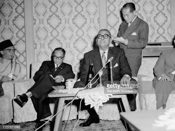 Malaya Prime Minister Tunku Abdul Rahman Speaks During A Press Conference On May 26 1958 In