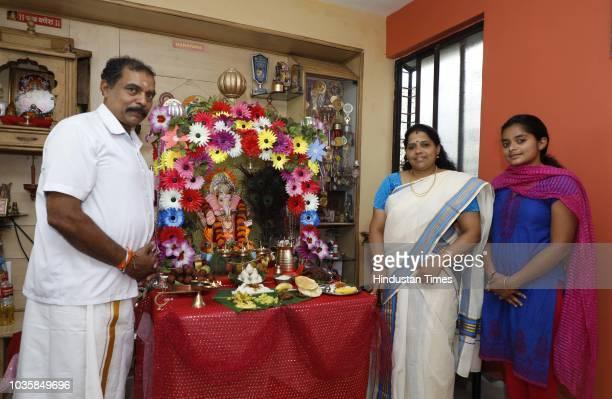 Malayalee family celebrate Ganesh Mahotsav at Sadhi Smruti 77 Rasta Peth Jews street on September 18 2018 in Pune India