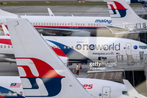Malaysia Airlines Berhad airplanes seen at Kuala Lumpur International Airport also known as KLIA. KLIA is the 23rd largest and busiest airport in the...