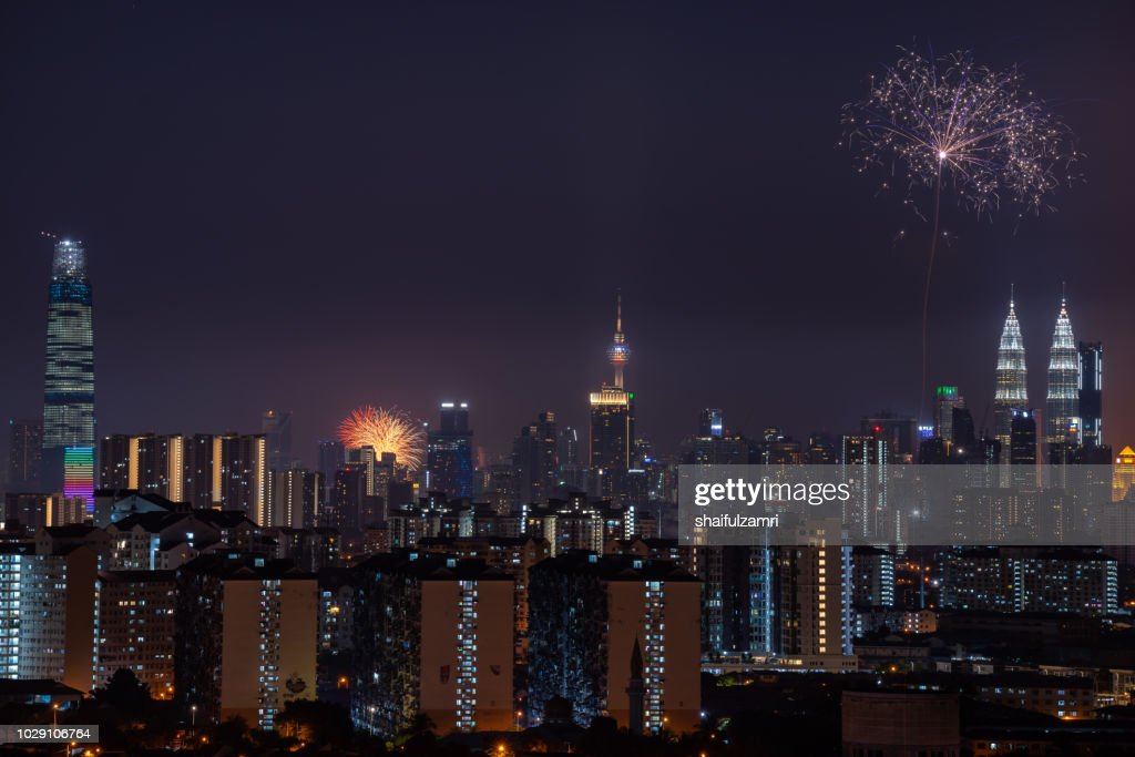Malaysia celebrated its 61st year of independence from British colonial rule on Aug 31 with a colourful fireworks display. : Stock Photo
